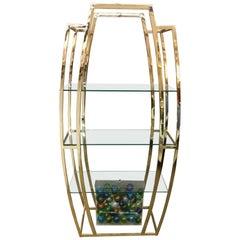 Milo Baughman Étagère Polished Brass and Glass Shelves Shelving Unit