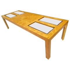 Expandable Burl Wood and Glass Burled Dining Table, circa 1977