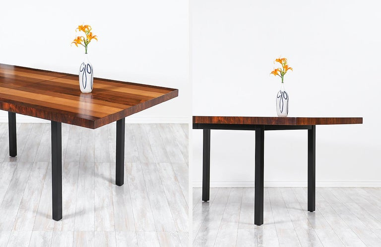 Milo Baughman Expanding Multi-Wood Dining Table for Directional For Sale 4