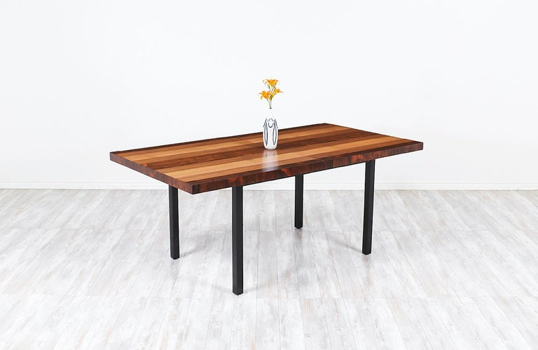 Milo Baughman expanding multi-wood dining table for Directional
