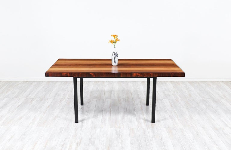 Mid-Century Modern Milo Baughman Expanding Multi-Wood Dining Table for Directional For Sale