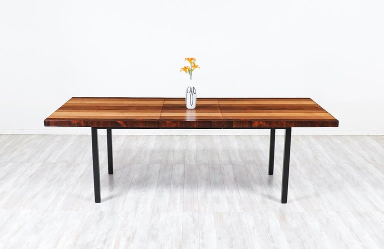 American Milo Baughman Expanding Multi-Wood Dining Table for Directional For Sale