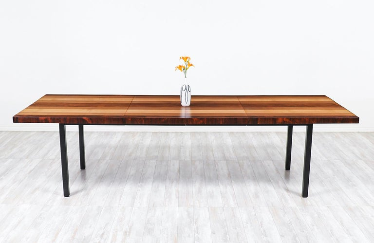 Milo Baughman Expanding Multi-Wood Dining Table for Directional In Excellent Condition For Sale In Los Angeles, CA