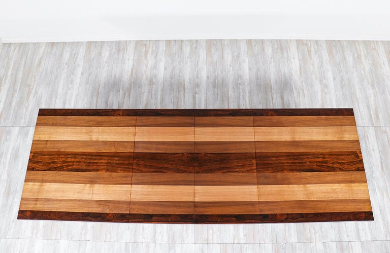 Milo Baughman Expanding Multi-Wood Dining Table for Directional For Sale 2