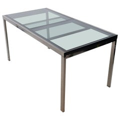 Milo Baughman Extendable Smoked Glass Dining Table