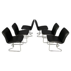 Milo Baughman for DIA Rare Set of Six Chrome Cantilevered Dining Chairs