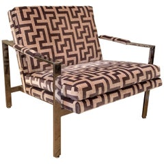 Milo Baughman Flat Bar Chrome Upholstered Lounge Chair