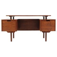 Milo Baughman Floating-Top Desk with Bookshelf for Glenn of California