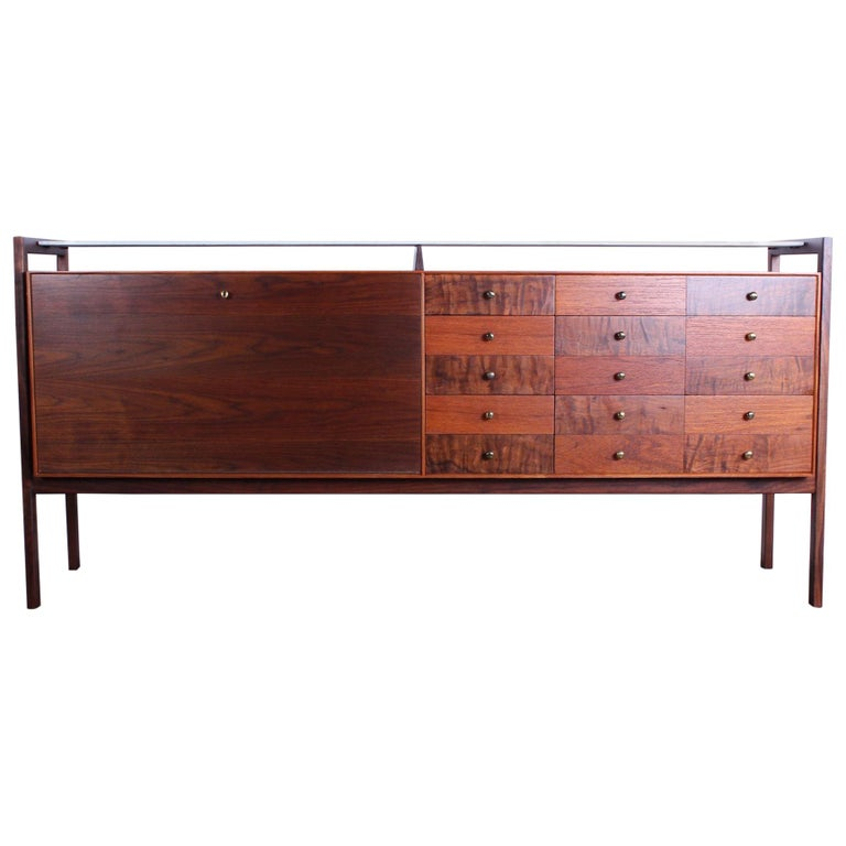 Milo Baughman for Arch Gordon Cabinet with Vitrolite Top For Sale