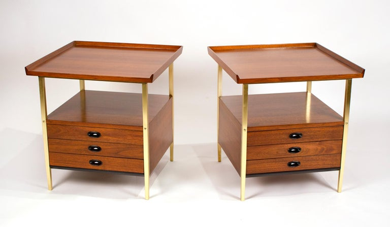 Mid-Century Modern Milo Baughman for Arch Gordon Walnut and Solid Brass Nightstands For Sale