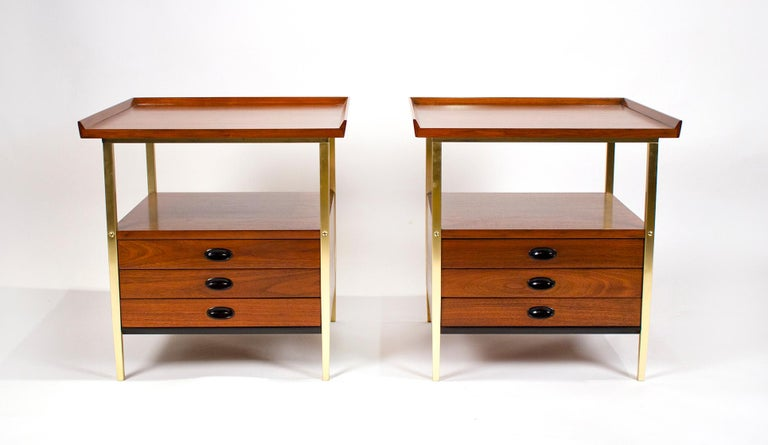 American Milo Baughman for Arch Gordon Walnut and Solid Brass Nightstands For Sale