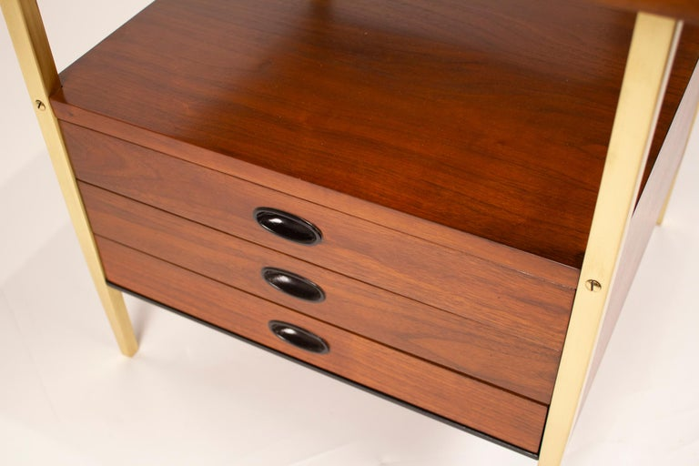 Milo Baughman for Arch Gordon Walnut and Solid Brass Nightstands In Excellent Condition For Sale In Dallas, TX