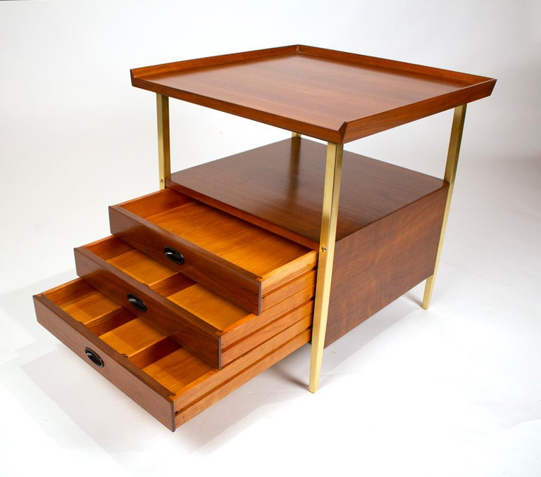 20th Century Milo Baughman for Arch Gordon Walnut and Solid Brass Nightstands For Sale