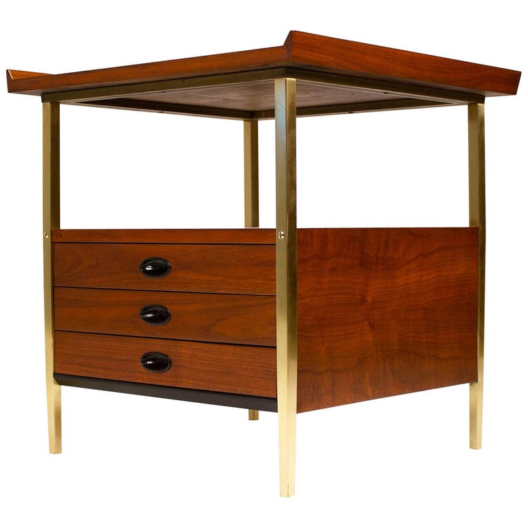 Milo Baughman for Arch Gordon Walnut and Solid Brass Nightstands For Sale