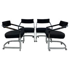Milo Baughman for Design Institute of America Chrome Cantilevered Dining Chairs