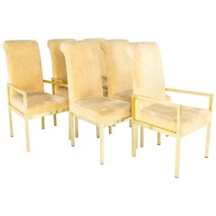 Milo Baughman for Design Institute of America MCM Brass Dining Chairs - Set of 6