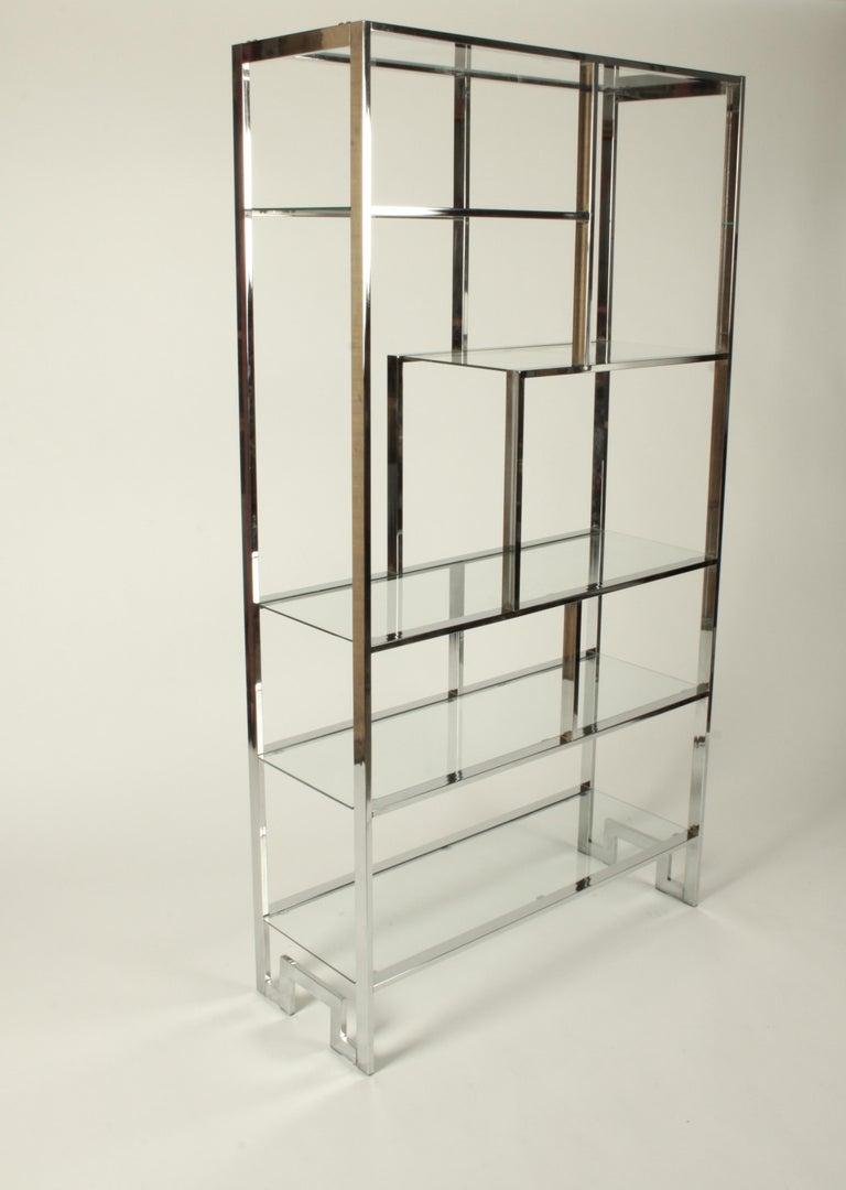 Mid-Century Modern Hollywood Regency DIA Chrome Geometric Étagère with Greek Key - Pair Available  For Sale