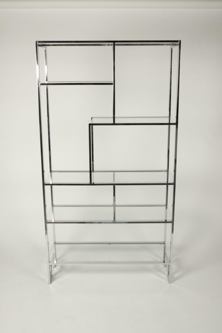 American Hollywood Regency DIA Chrome Geometric Étagère with Greek Key - Pair Available  For Sale