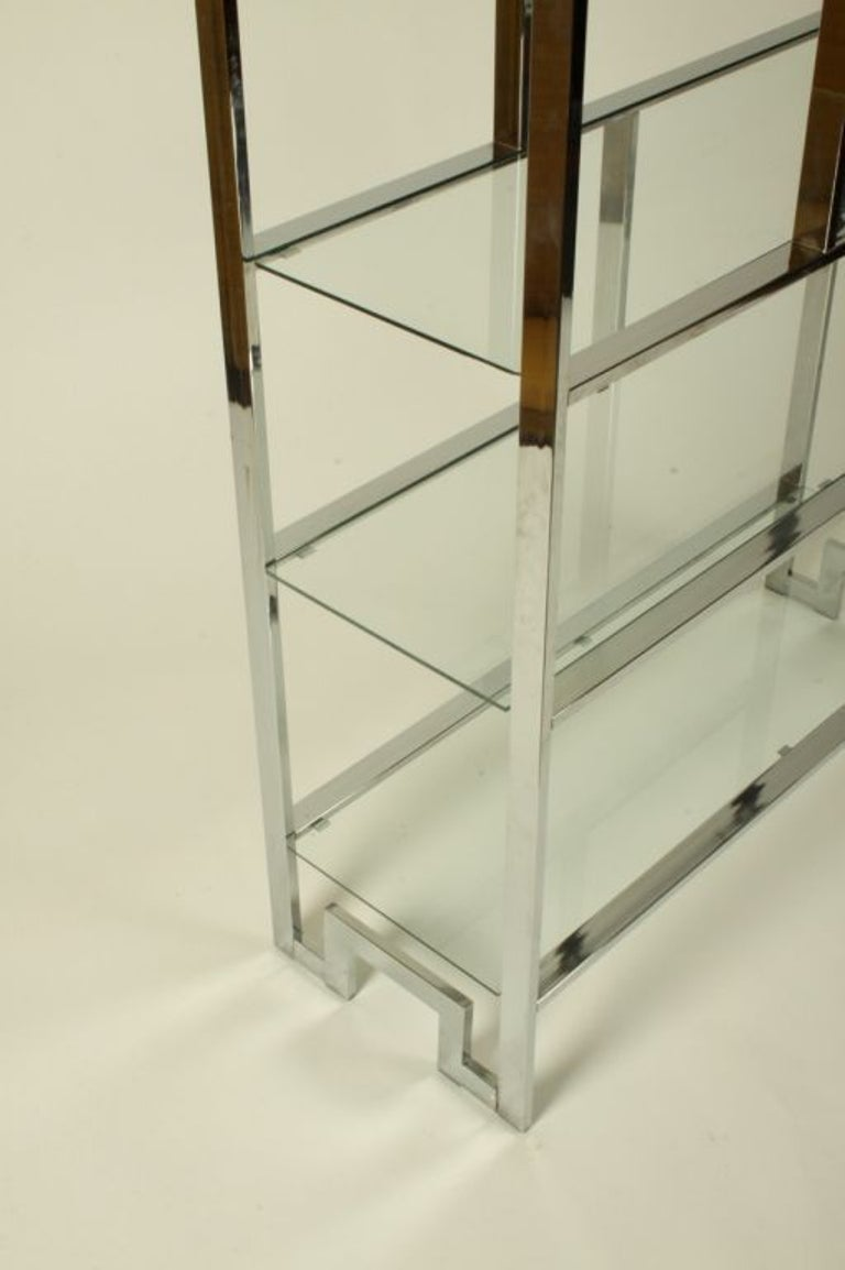 Glass Hollywood Regency DIA Chrome Geometric Étagère with Greek Key - Pair Available  For Sale