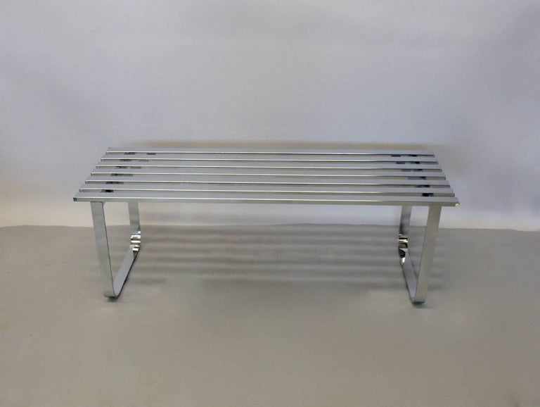 Mid-Century Modern Milo Baughman for DIA Chrome Slat Bench Coffee Table For Sale