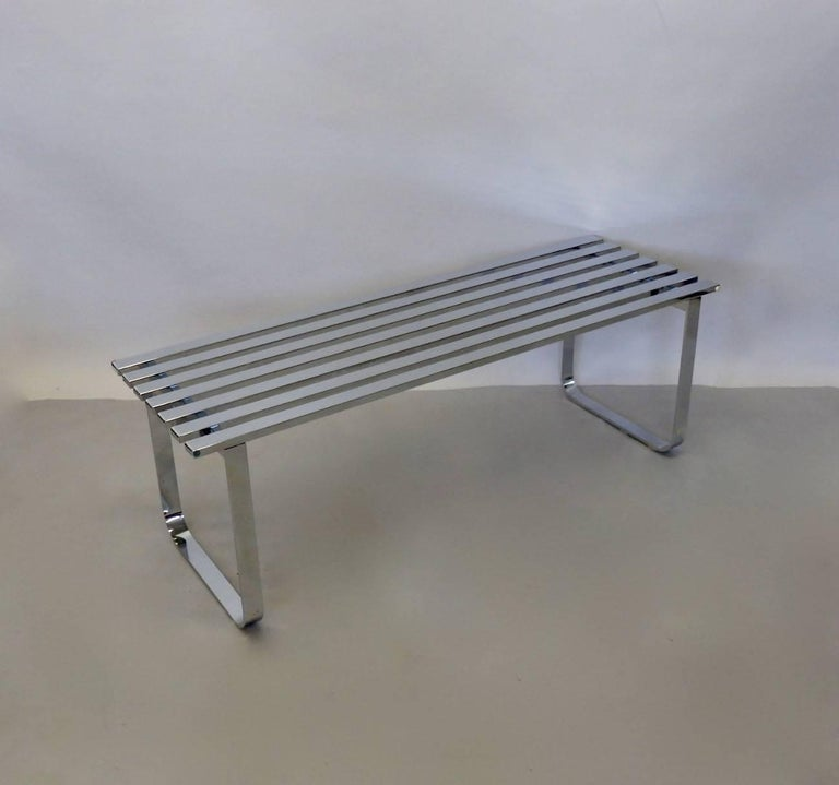 Milo Baughman for DIA Chrome Slat Bench Coffee Table In Good Condition For Sale In Ferndale, MI