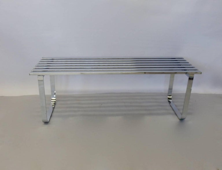 Milo Baughman for DIA Chrome Slat Bench Coffee Table For Sale 2