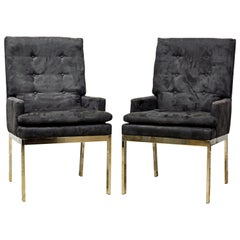 Milo Baughman for DIA Pair of Midcentury Suede Covered Armchairs on Chrome Base