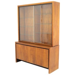 Milo Baughman for Dillingham Midcentury Bookmatched Walnut China Cabinet