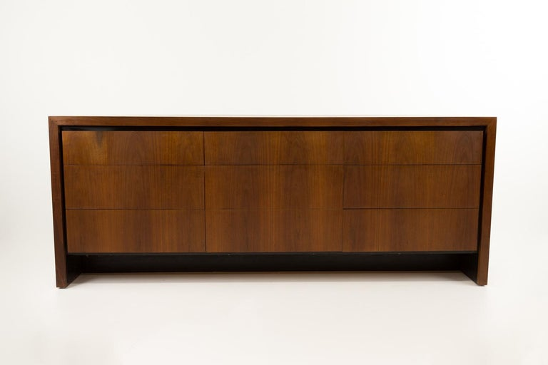 Merton Gershun for Dillingham mid century walnut lowboy dresser Dresser measures: 74 long x 19 deep x 29.5 inches high  All pieces of furniture can be had in what we call restored vintage condition. That means the piece is restored upon purchase