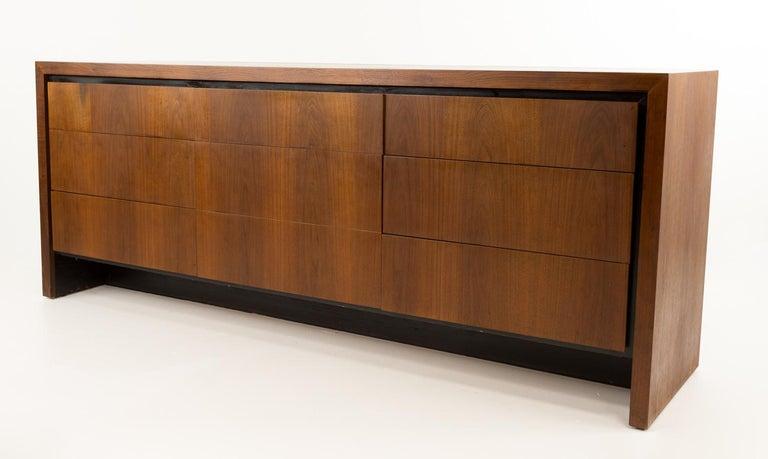 Mid-Century Modern Merton Gershun for Dillingham Mid Century Walnut Lowboy Dresser For Sale