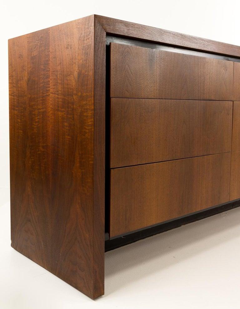 American Merton Gershun for Dillingham Mid Century Walnut Lowboy Dresser For Sale