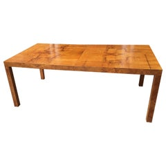 Milo Baughman for Directional Burled Wood Table with 1 Leaf!
