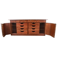 Milo Baughman for Directional Cherry and Burl Dresser or Credenza, Restored