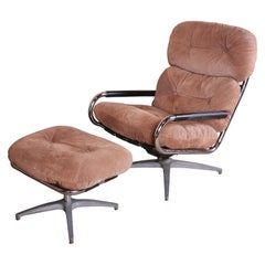 Milo Baughman for Directional Chrome and Suede Swivel Lounge Chair and Ottoman