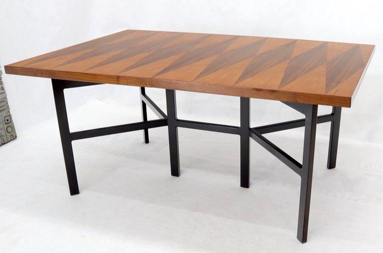 Milo Baughman for Directional Dimond Teak & Walnut Dining Table Gate Legs Base  For Sale 7
