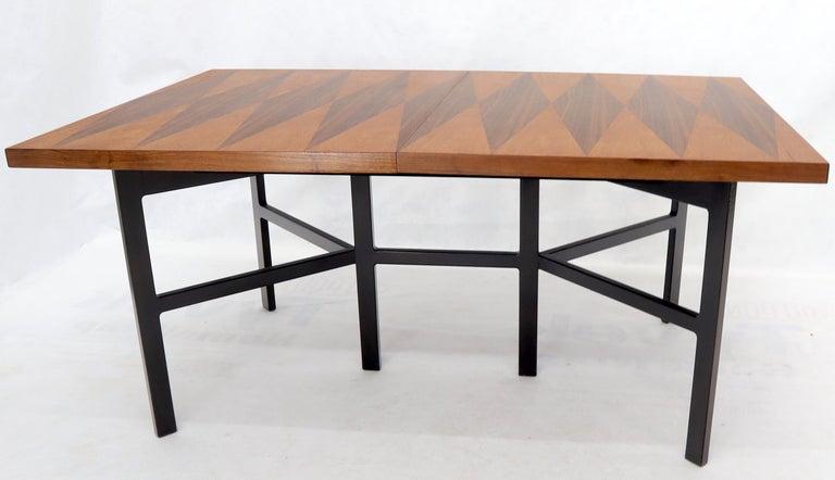 Milo Baughman for Directional Dimond Teak & Walnut Dining Table Gate Legs Base  For Sale 8