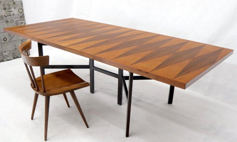 Mid-Century Modern Milo Baughman for Directional Dimond Teak & Walnut Dining Table Gate Legs Base  For Sale