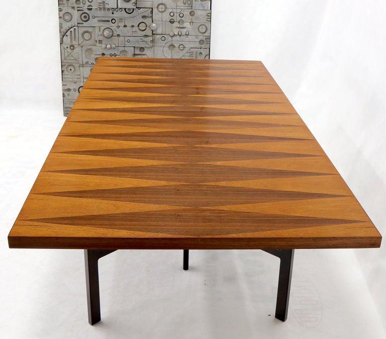American Milo Baughman for Directional Dimond Teak & Walnut Dining Table Gate Legs Base  For Sale