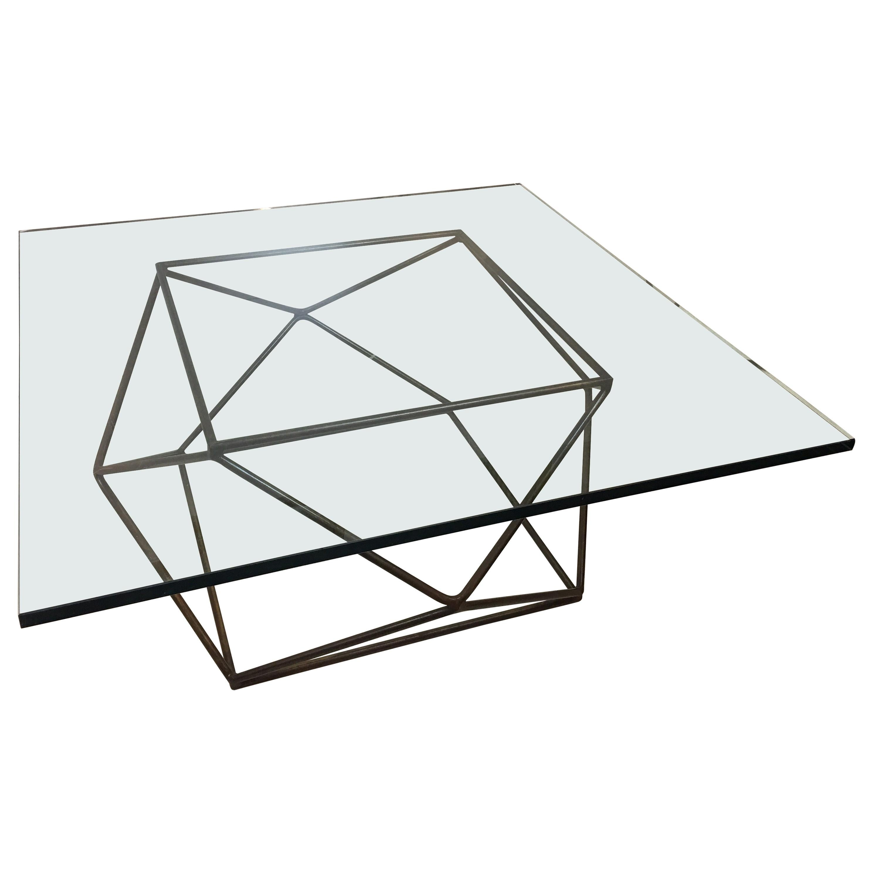 Milo Baughman for Directional Geodesic Bronzed Steel Coffee Table