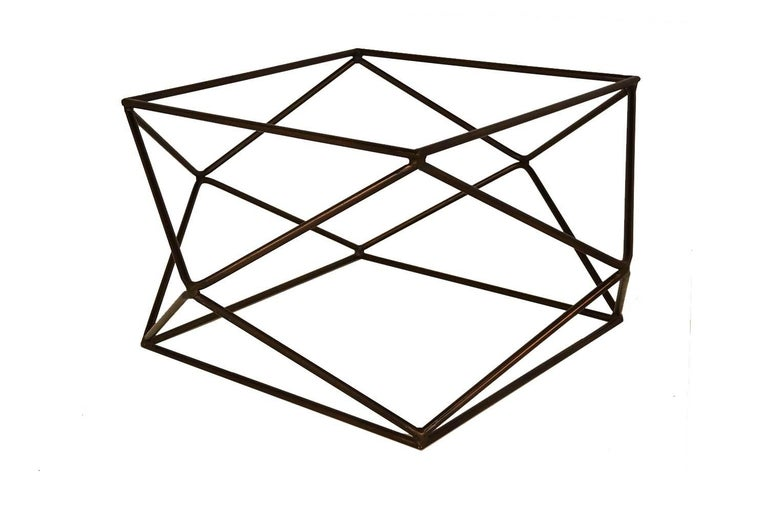 An extraordinary Geometric, glass, midcentury, Bronze-finish base coffee table by Milo Baughman for Directional, circa 1970s. Features original, octagonal, 3/4