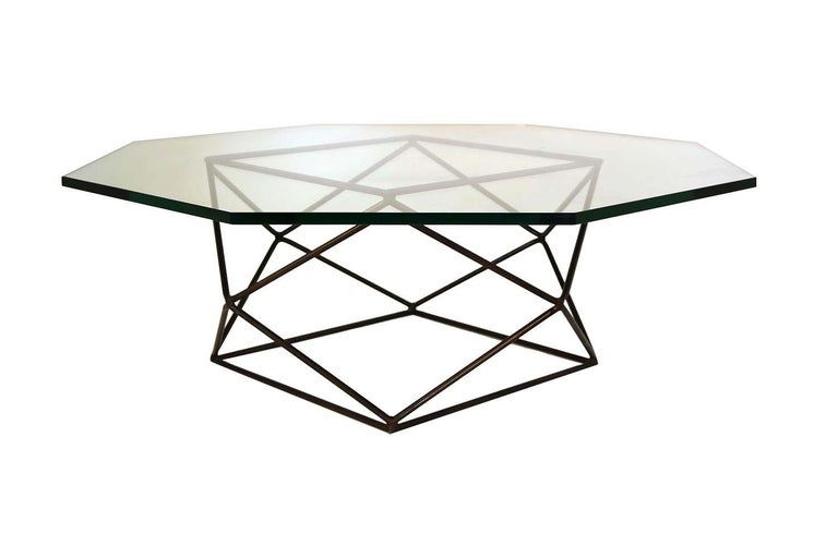Mid-Century Modern Milo Baughman for Directional Geometric Bronze Glass Coffee Table For Sale