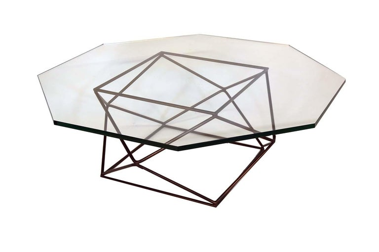 American Milo Baughman for Directional Geometric Bronze Glass Coffee Table For Sale