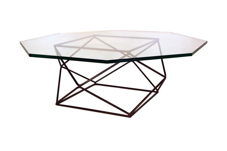 Bronzed Milo Baughman for Directional Geometric Bronze Glass Coffee Table For Sale