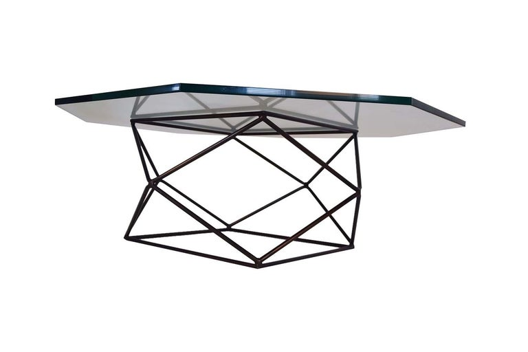 Milo Baughman for Directional Geometric Bronze Glass Coffee Table For Sale 1
