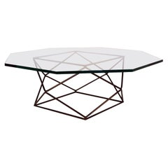 Milo Baughman for Directional Geometric Bronze Glass Coffee Table