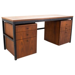 Milo Baughman for Directional Mid Century Parsons Writing Desk with Modular File
