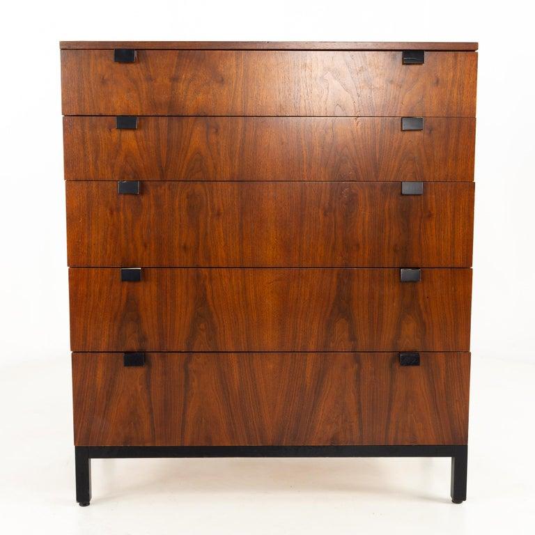 Mid-Century Modern Milo Baughman for Directional Mid Century Walnut 5 Drawer Highboy Dresser For Sale