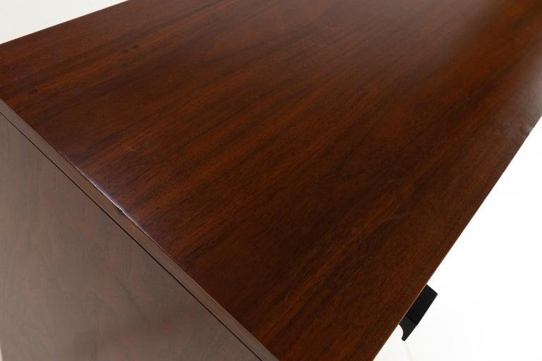 American Milo Baughman for Directional Mid Century Walnut 5 Drawer Highboy Dresser For Sale