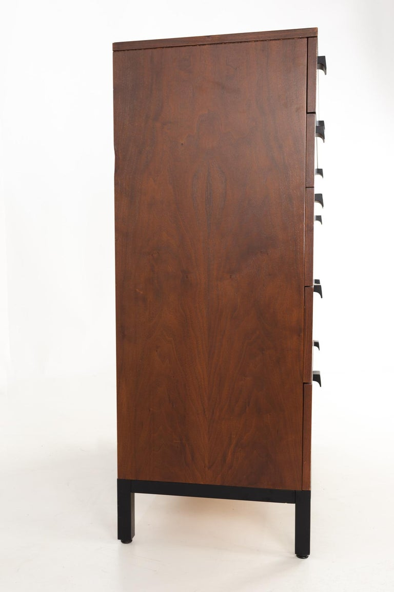 Late 20th Century Milo Baughman for Directional Mid Century Walnut 5 Drawer Highboy Dresser For Sale