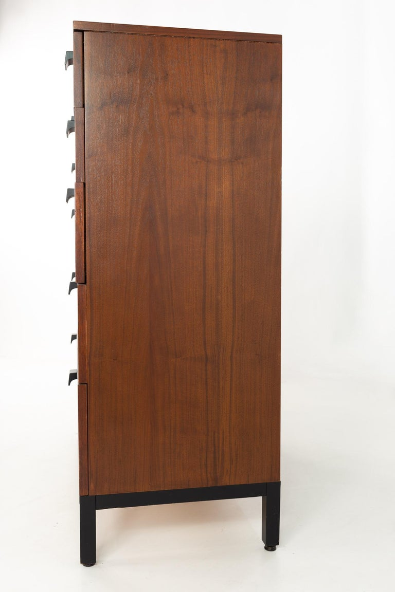 Metal Milo Baughman for Directional Mid Century Walnut 5 Drawer Highboy Dresser For Sale